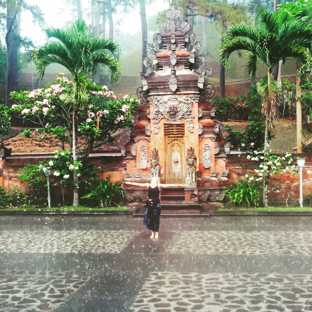 Embracing rainy season in Bali at the water temple