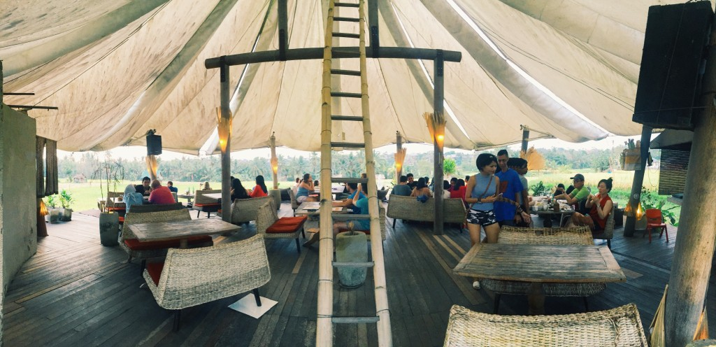 An open-air yurt/restaurant in the middle of a rice field. Yes, these types of fantasies are realities in Ubud.