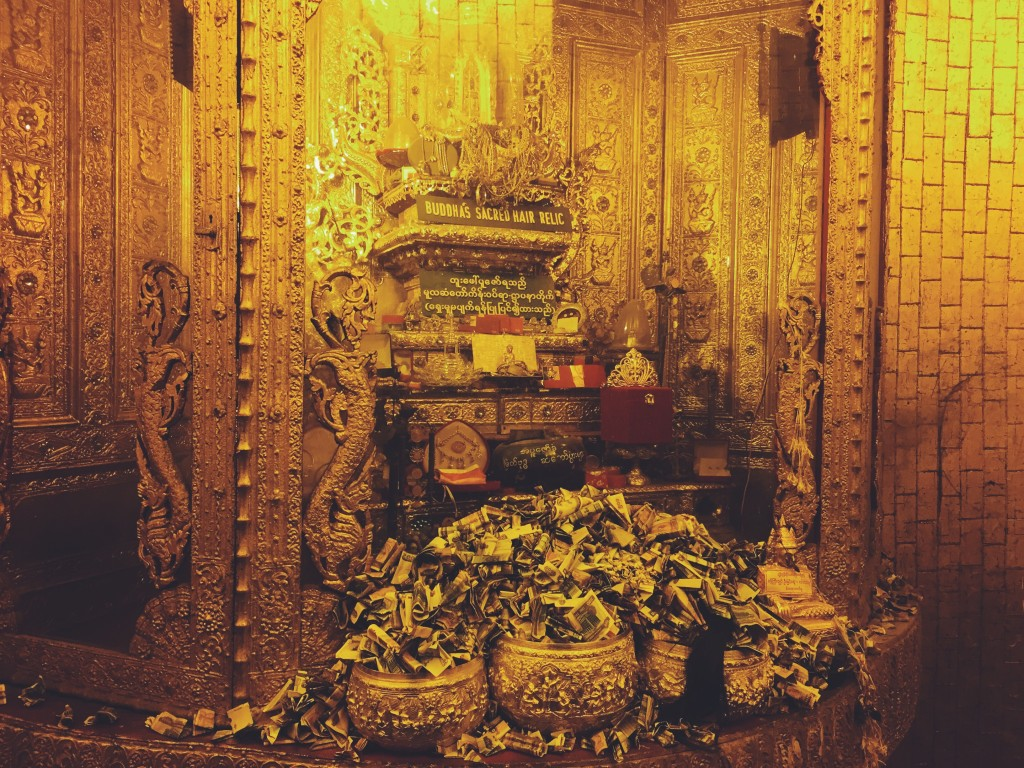Gringotts vault. Jk - Relics of Buddha showered with offerings of money