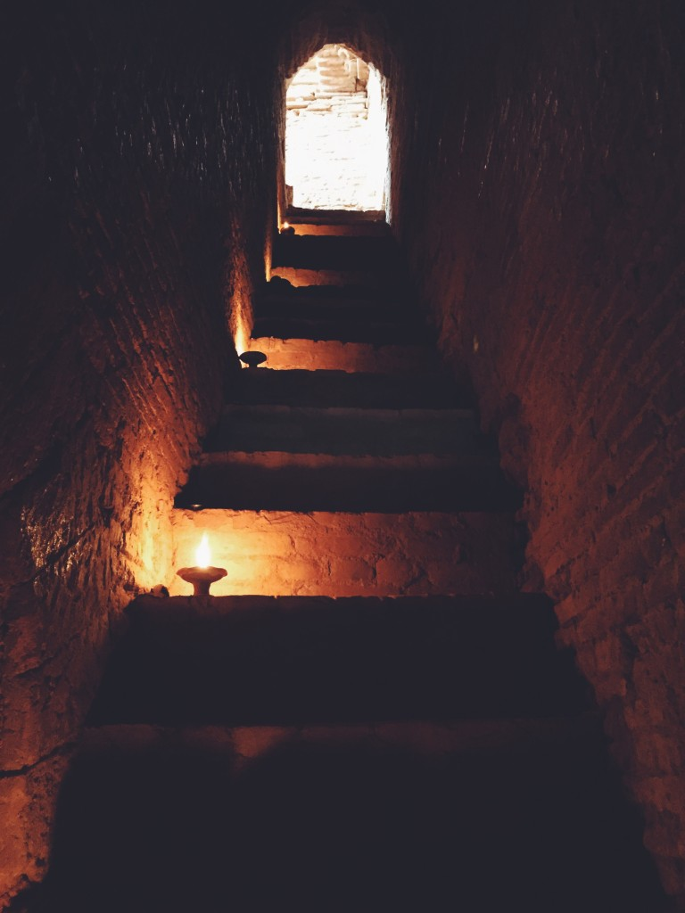Candle-lit stairway at sunrise