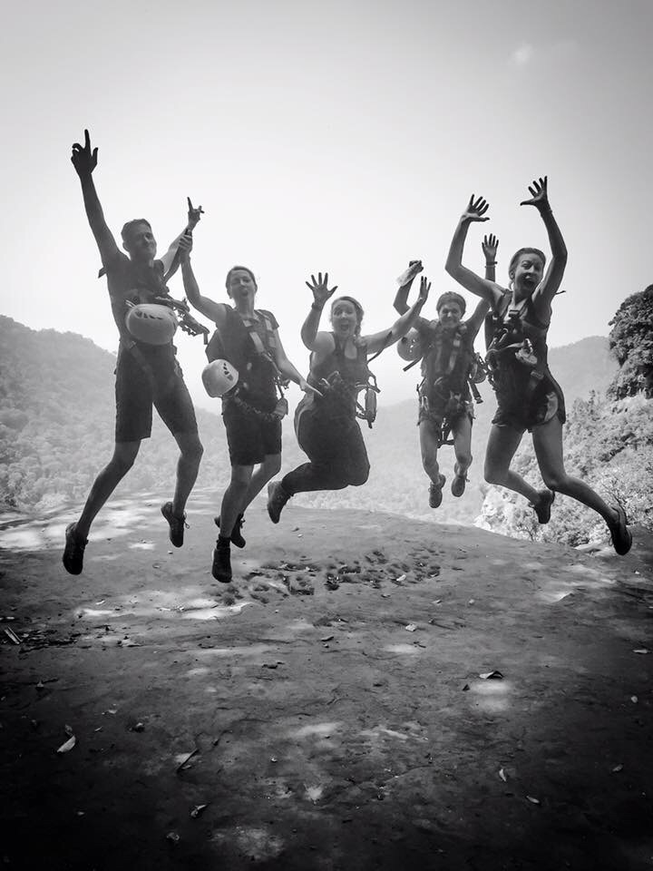 Jumpin' for joy at the top of the waterfall (photo cred: Jennifer Williams)