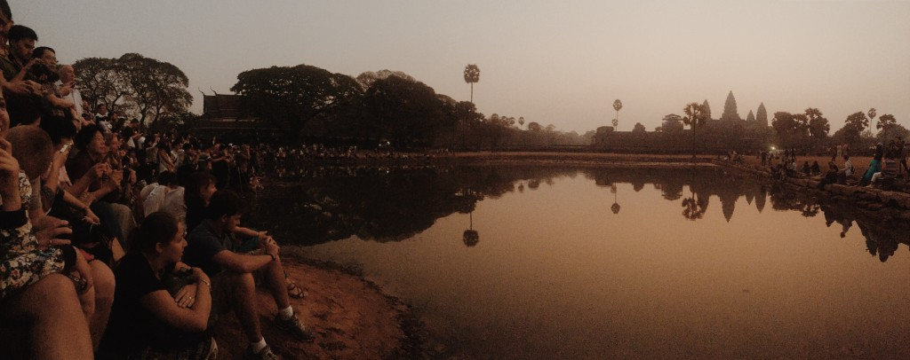 Me and a few hundred other people enjoying sunrise at Angkor Wat