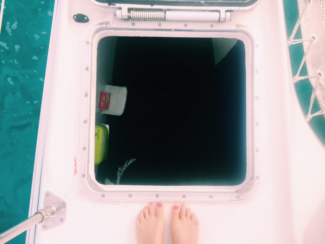 Down the hatch - lookin' into my little cubby from the front deck of the boat