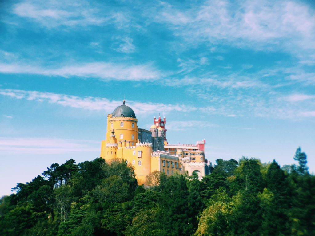 Here's a good example of rule of thirds. This is a fairly standard, centered picture of the palace in Sintra, Portugal (still quite beautiful)